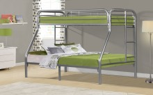Silver Metal Twin Full Bunk Bed
